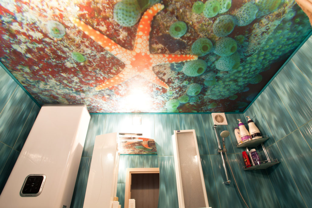 Фотопечать на натяжном потолке в ванну