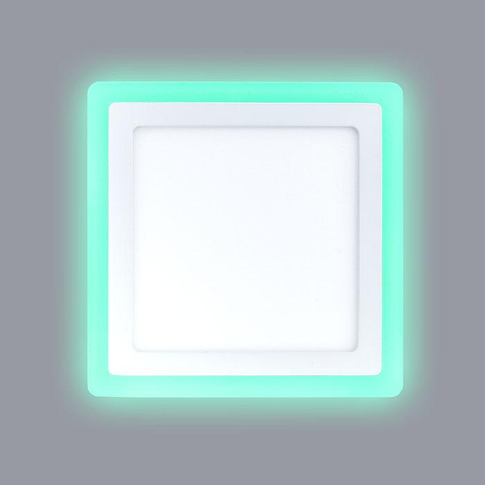квадратный светодиодный светильник с зеленой подсветкой
