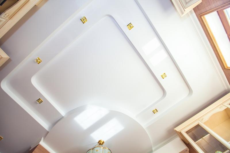 двухуровневый натяжной потолок круг