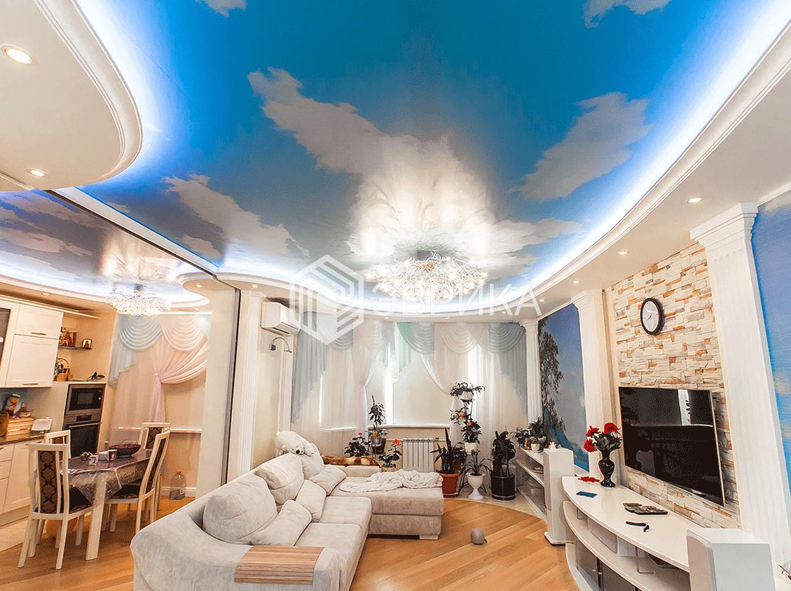 натяжной потолок небо облака