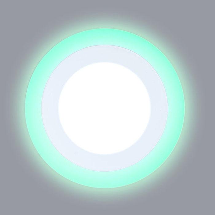 круглый светодиодный светильник с зеленой подсветкой