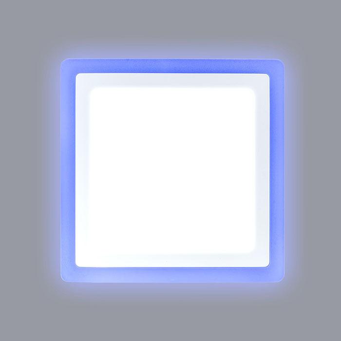 квадратный светодиодный светильник с синей подсветкой